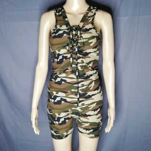 Soft camouflage romper with tie up neck